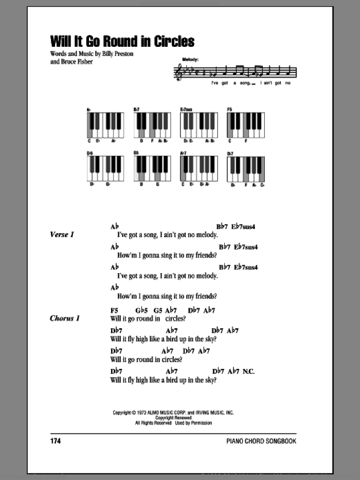 Will It Go Round In Circles sheet music for piano solo (chords, lyrics, melody) by Bruce Fisher and Billy Preston. Score Image Preview.