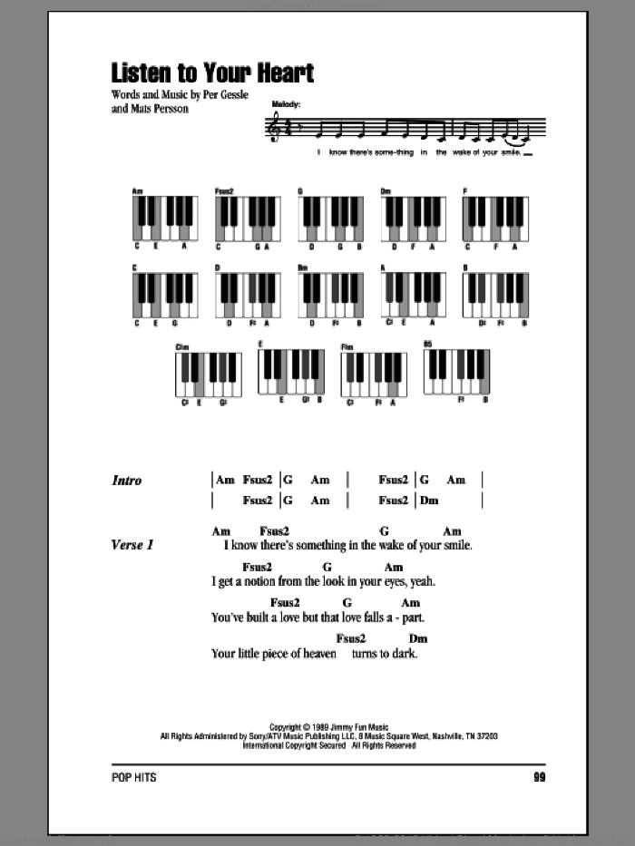 Listen To Your Heart sheet music for piano solo (chords, lyrics, melody) by D.H.T.. Score Image Preview.