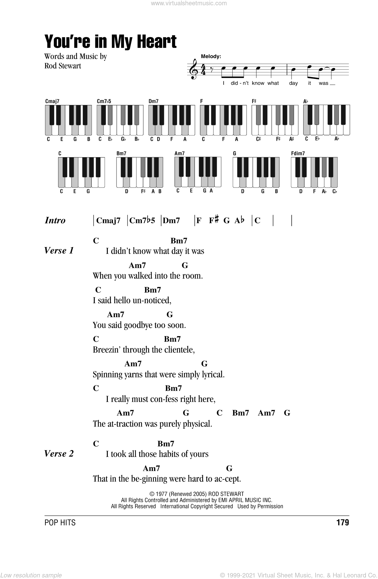 You're In My Heart sheet music for piano solo (chords, lyrics, melody) by Rod Stewart, intermediate piano (chords, lyrics, melody)