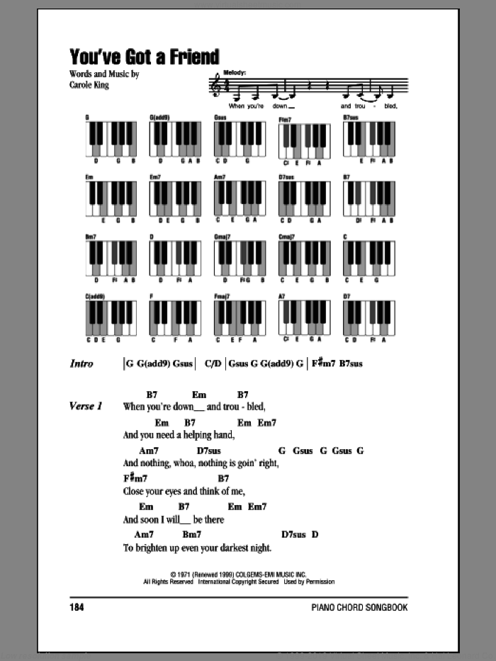 You've Got A Friend sheet music for piano solo (chords, lyrics, melody) by James Taylor and Carole King. Score Image Preview.
