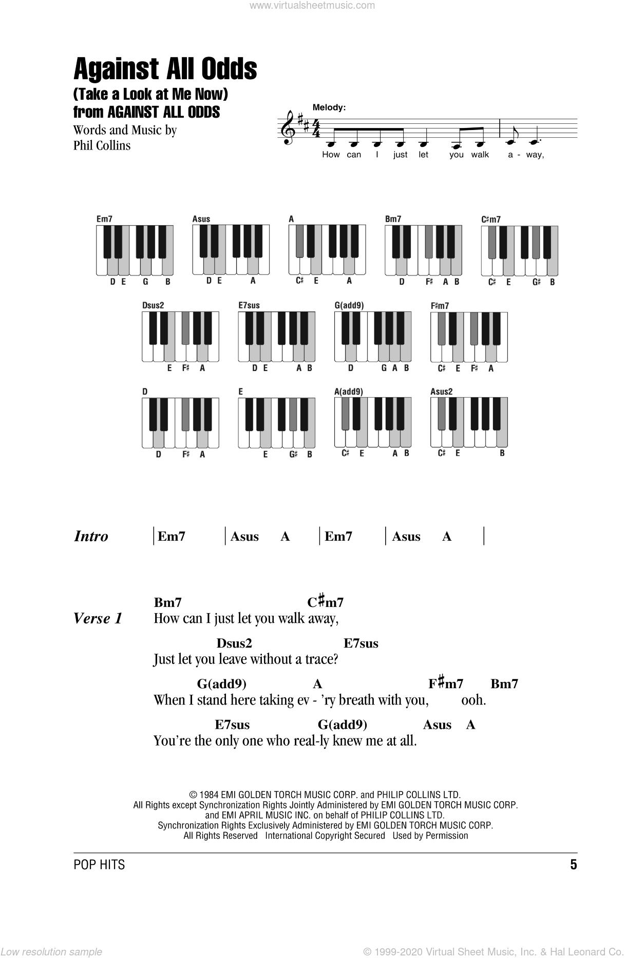 Against All Odds (Take A Look At Me Now) sheet music for piano solo (chords, lyrics, melody) by Phil Collins, intermediate piano (chords, lyrics, melody). Score Image Preview.