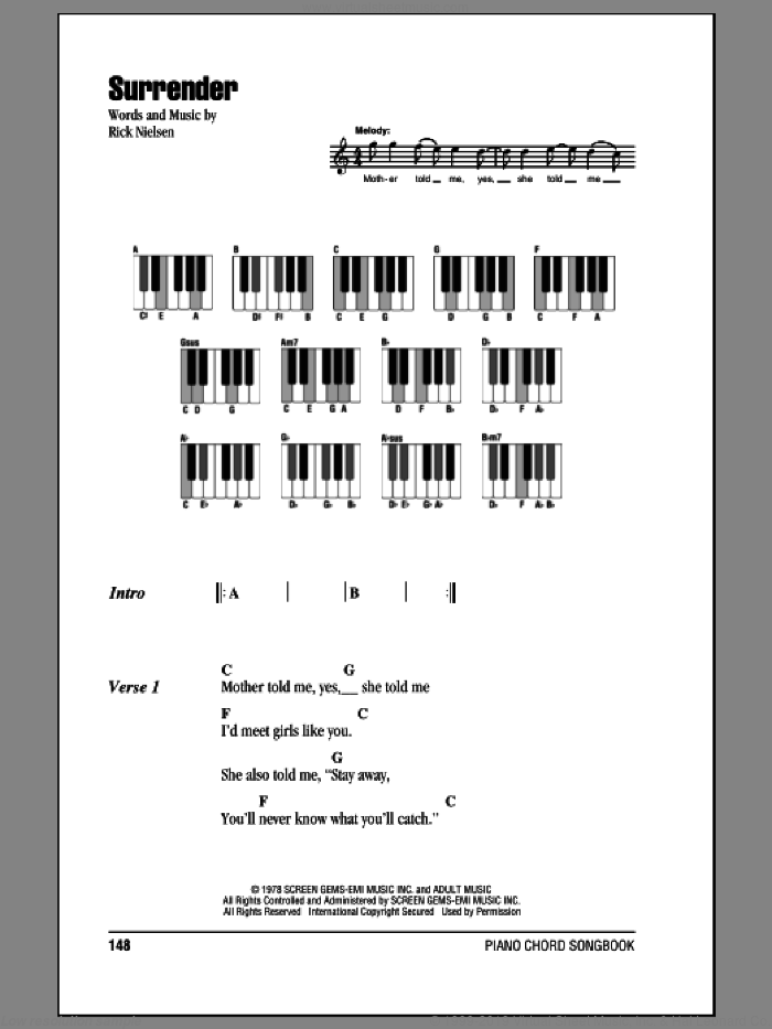 Surrender sheet music for piano solo (chords, lyrics, melody) by Rick Nielsen
