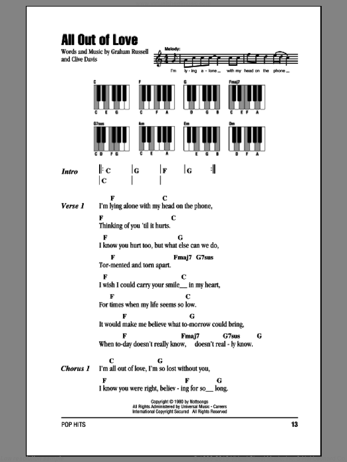 All Out Of Love sheet music for piano solo (chords, lyrics, melody) by Air Supply, Clive Davis and Graham Russell, intermediate piano (chords, lyrics, melody)