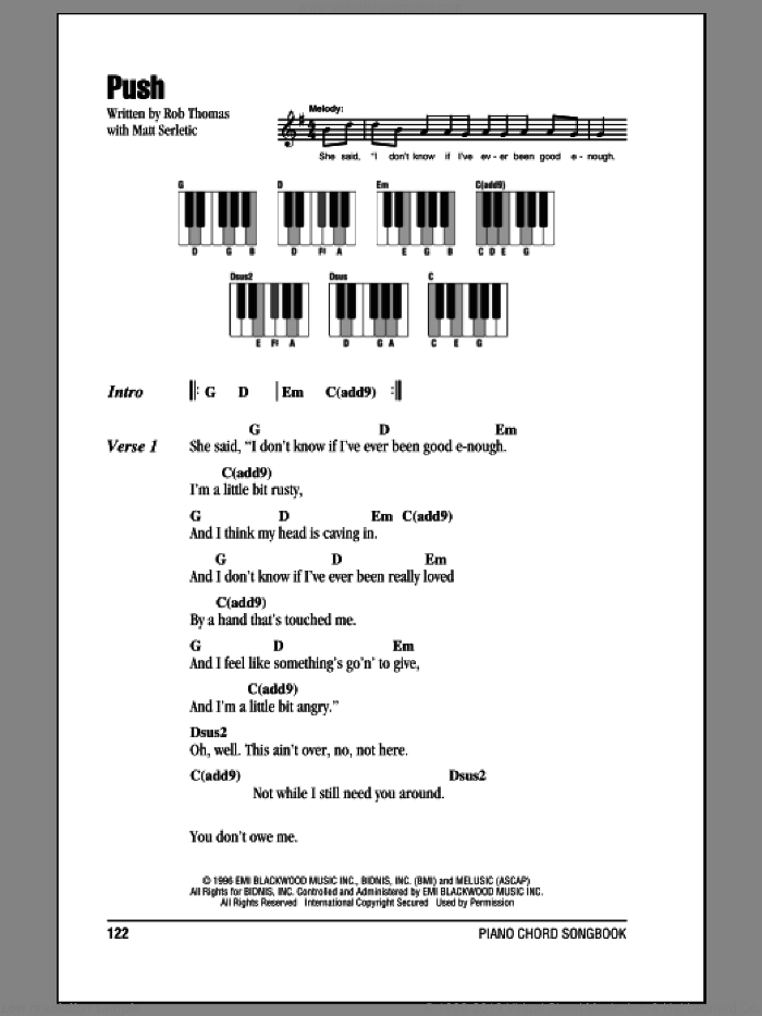 Push sheet music for piano solo (chords, lyrics, melody) by Rob Thomas, Matchbox Twenty and Matt Serletic. Score Image Preview.