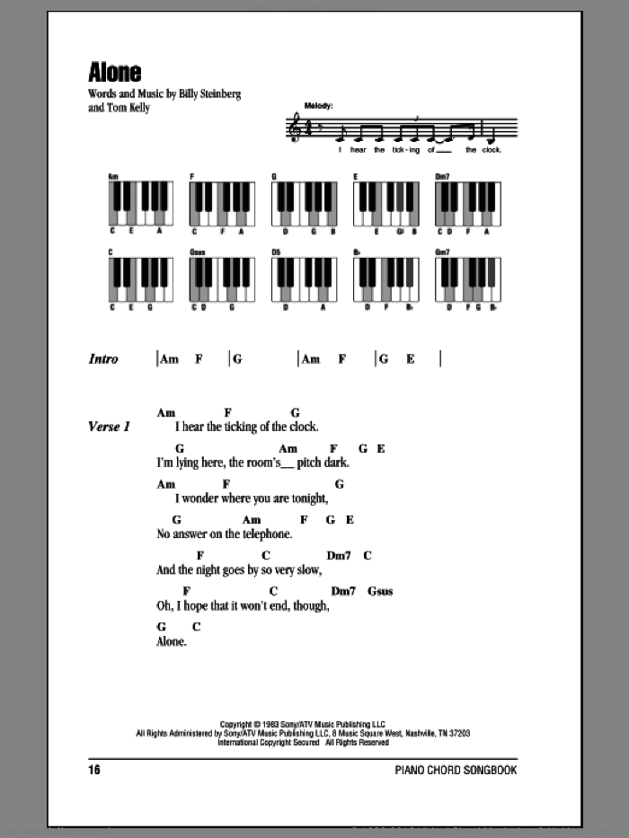 Alone sheet music for piano solo (chords, lyrics, melody) by Tom Kelly