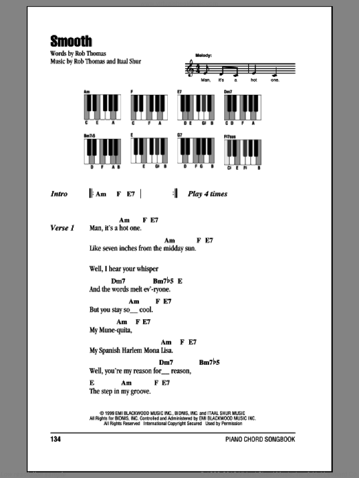 Smooth sheet music for piano solo (chords, lyrics, melody) by Santana featuring Rob Thomas, Itaal Shur and Rob Thomas, intermediate piano (chords, lyrics, melody)