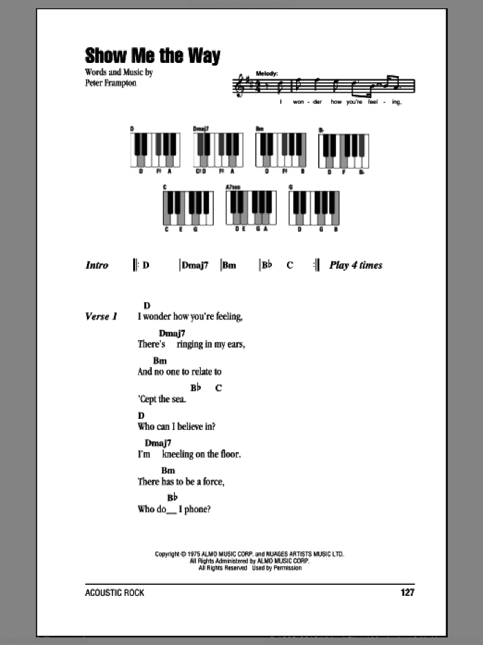 Show Me The Way sheet music for piano solo (chords, lyrics, melody) by Peter Frampton, intermediate piano (chords, lyrics, melody). Score Image Preview.
