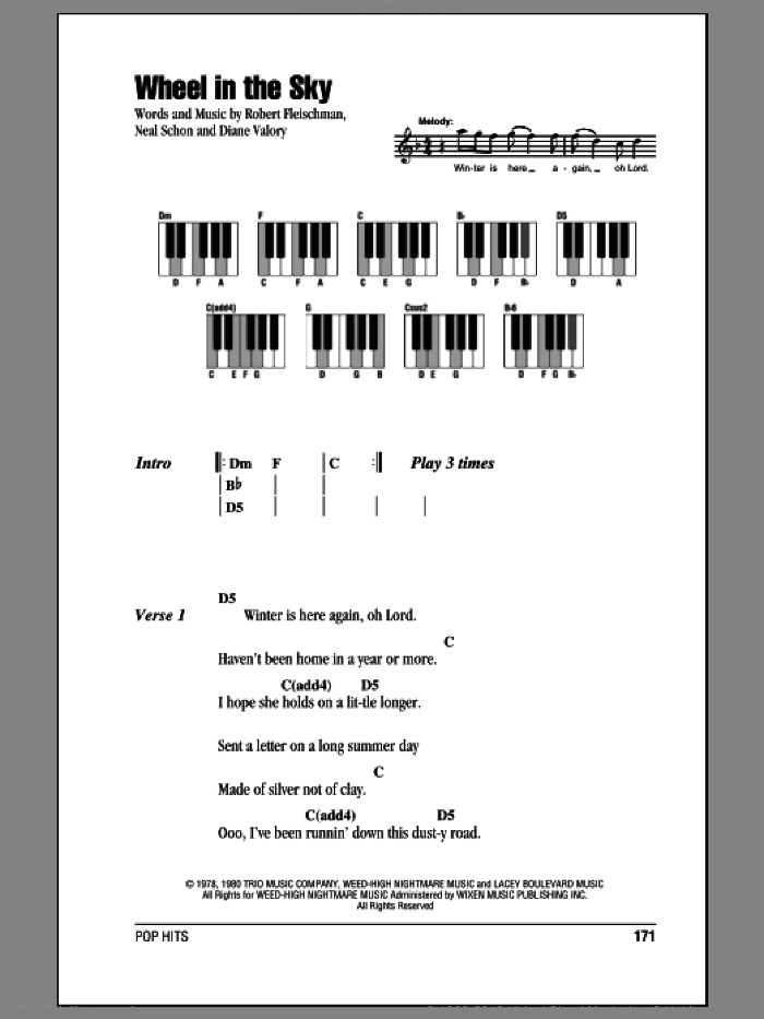 Wheel In The Sky sheet music for piano solo (chords, lyrics, melody) by Journey, Diane Valory, Neal Schon and Robert Fleischman, intermediate piano (chords, lyrics, melody)