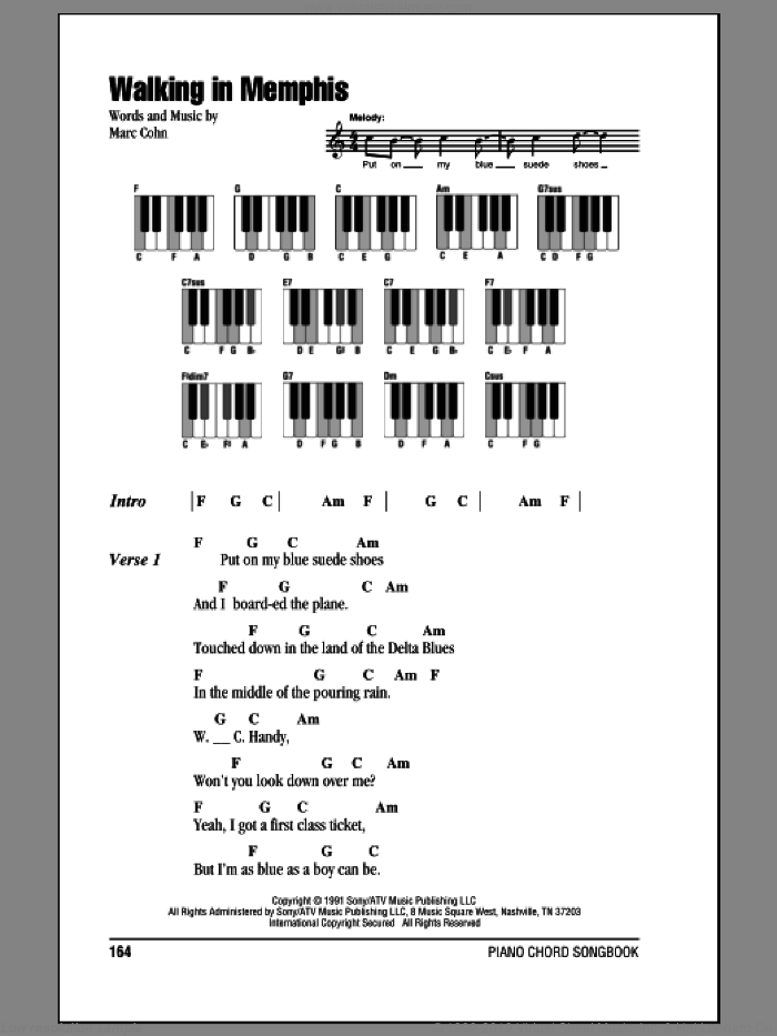 Walking In Memphis sheet music for piano solo (chords, lyrics, melody) by Marc Cohn, intermediate piano (chords, lyrics, melody)