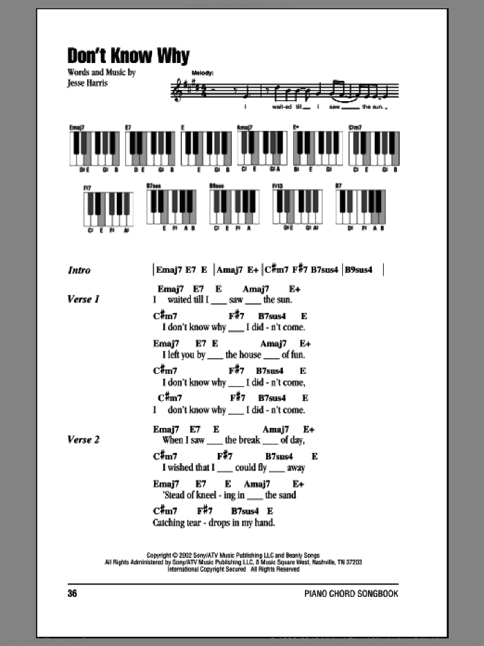 Don't Know Why sheet music for piano solo (chords, lyrics, melody) by Jesse Harris