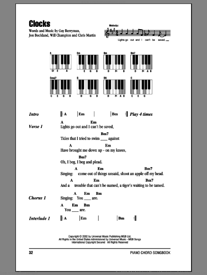 Clocks sheet music for piano solo (chords, lyrics, melody) by Coldplay, Chris Martin, Guy Berryman, Jon Buckland and Will Champion, intermediate piano (chords, lyrics, melody)