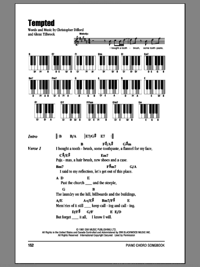 Tempted sheet music for piano solo (chords, lyrics, melody) by Joe Cocker and Glenn Tilbrook. Score Image Preview.