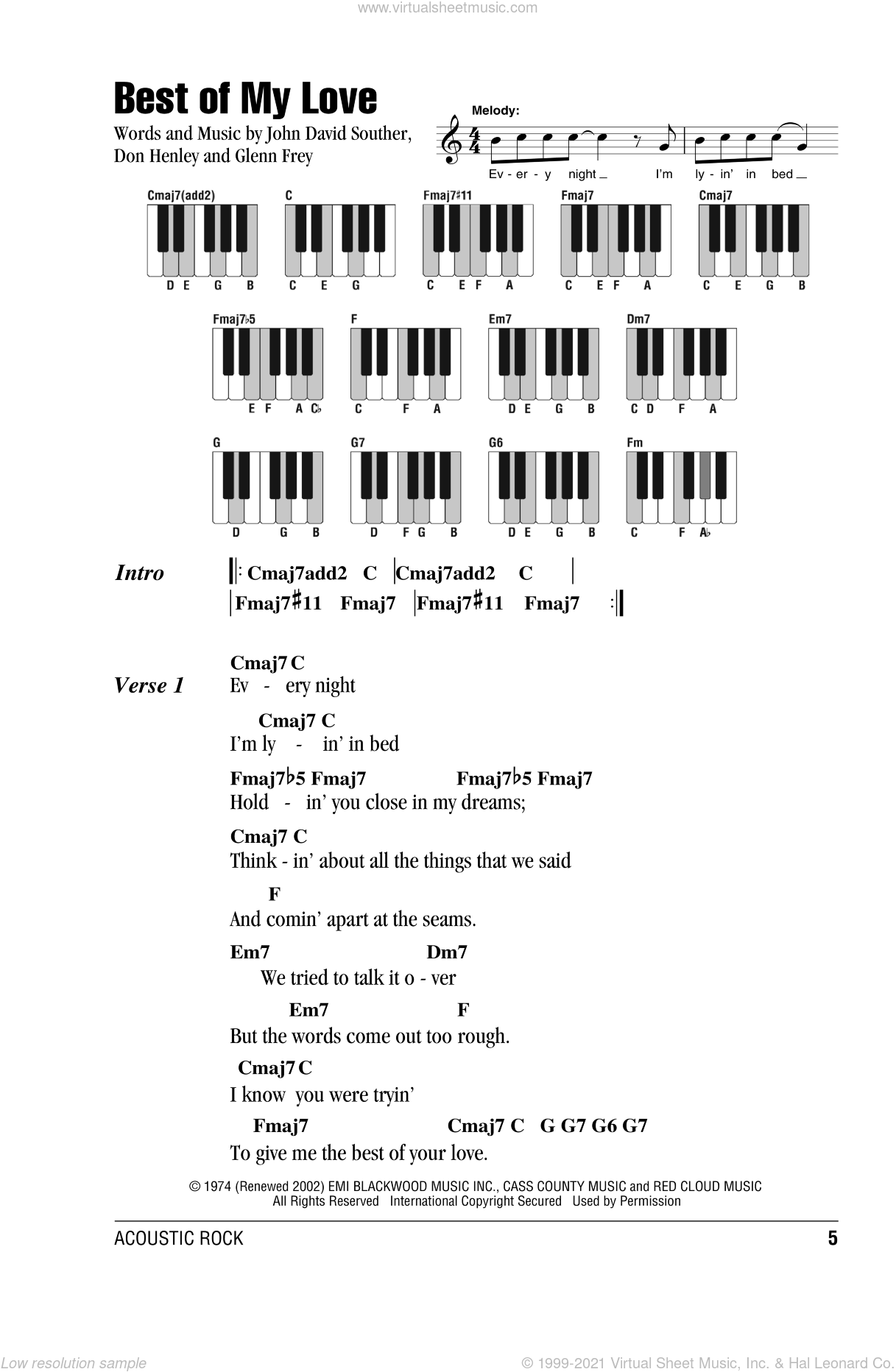Best Of My Love sheet music for piano solo (chords, lyrics, melody) by Don Henley, The Eagles, Glenn Frey and John David Souther, intermediate piano (chords, lyrics, melody)