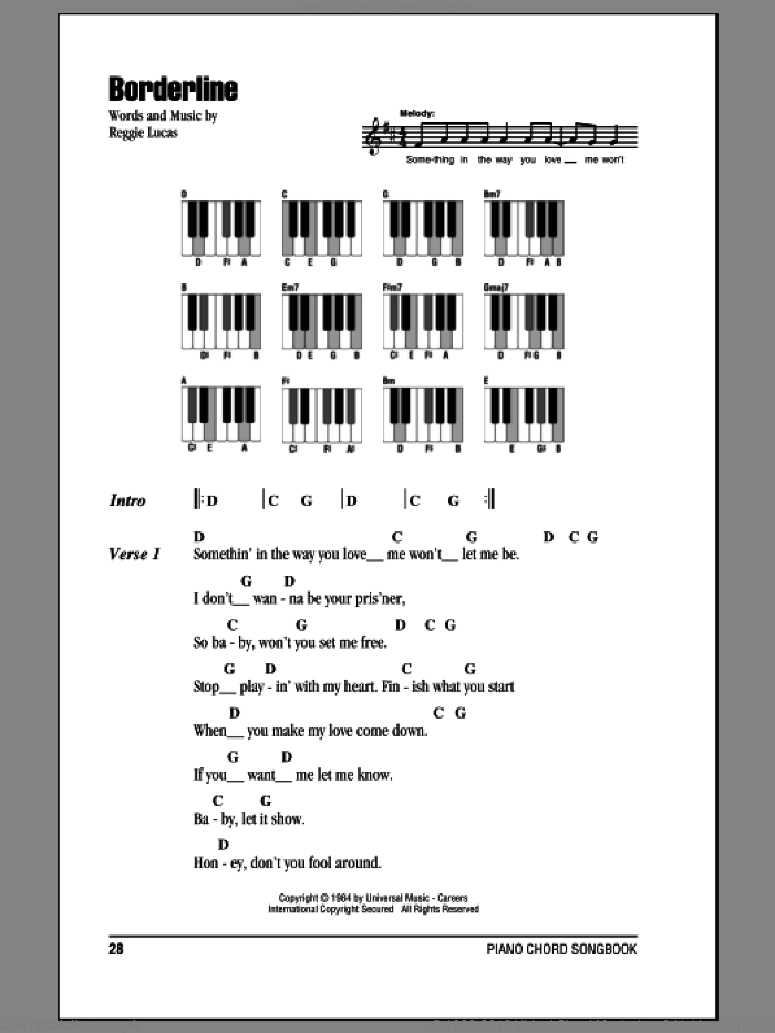 Borderline sheet music for piano solo (chords, lyrics, melody) by Reggie Lucas