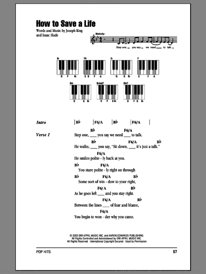 How To Save A Life sheet music for piano solo (chords, lyrics, melody) by The Fray. Score Image Preview.