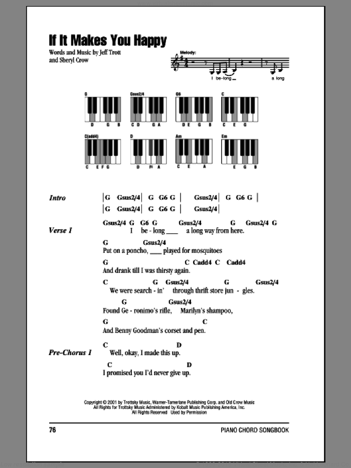 If It Makes You Happy sheet music for piano solo (chords, lyrics, melody) by Sheryl Crow and Jeff Trott, intermediate piano (chords, lyrics, melody)
