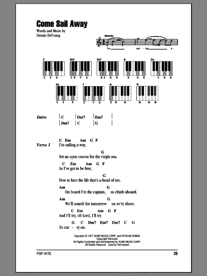 Come Sail Away sheet music for piano solo (chords, lyrics, melody) by Styx. Score Image Preview.