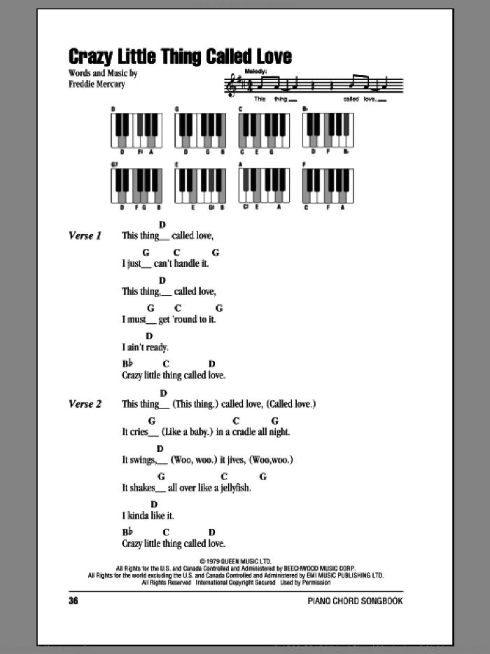 Crazy Little Thing Called Love sheet music for piano solo (chords, lyrics, melody) by Freddie Mercury and Queen. Score Image Preview.