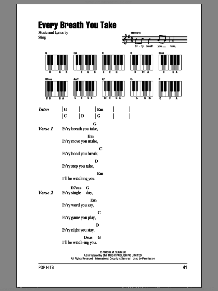 Every Breath You Take sheet music for piano solo (chords, lyrics, melody) by Sting and The Police. Score Image Preview.