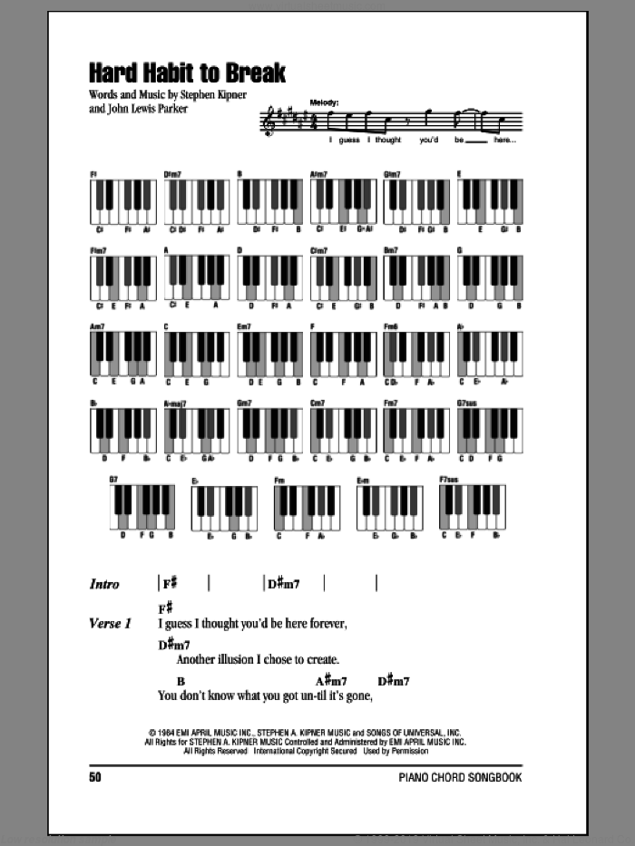 Hard Habit To Break sheet music for piano solo (chords, lyrics, melody) by Chicago, John Parker and Steve Kipner, wedding score, intermediate piano (chords, lyrics, melody)
