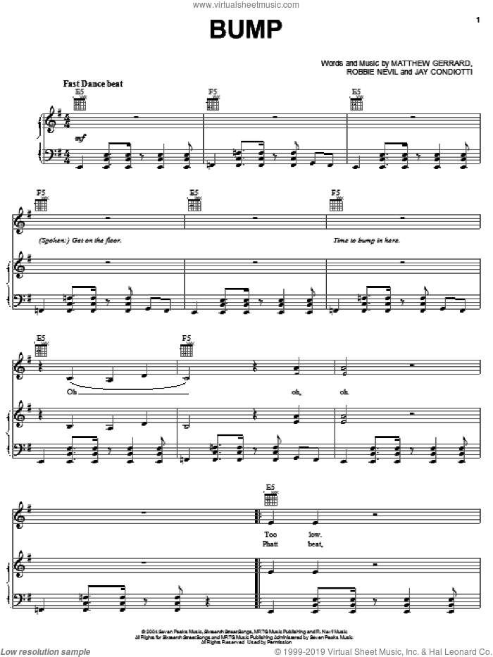Bump sheet music for voice, piano or guitar by Robbie Nevil and Matthew Gerrard