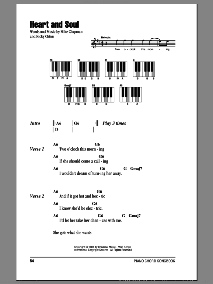 Heart And Soul sheet music for piano solo (chords, lyrics, melody) by Huey Lewis & The News, Mike Chapman and Nicky Chinn, intermediate piano (chords, lyrics, melody)