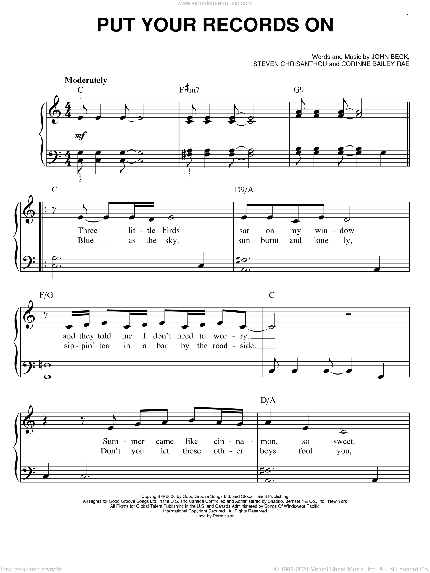Put Your Records On sheet music for piano solo (chords) by Steven Crisanthou