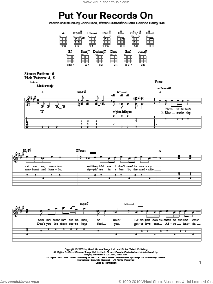 Put Your Records On sheet music for guitar solo (easy tablature) by Steven Crisanthou and Corinne Bailey Rae. Score Image Preview.