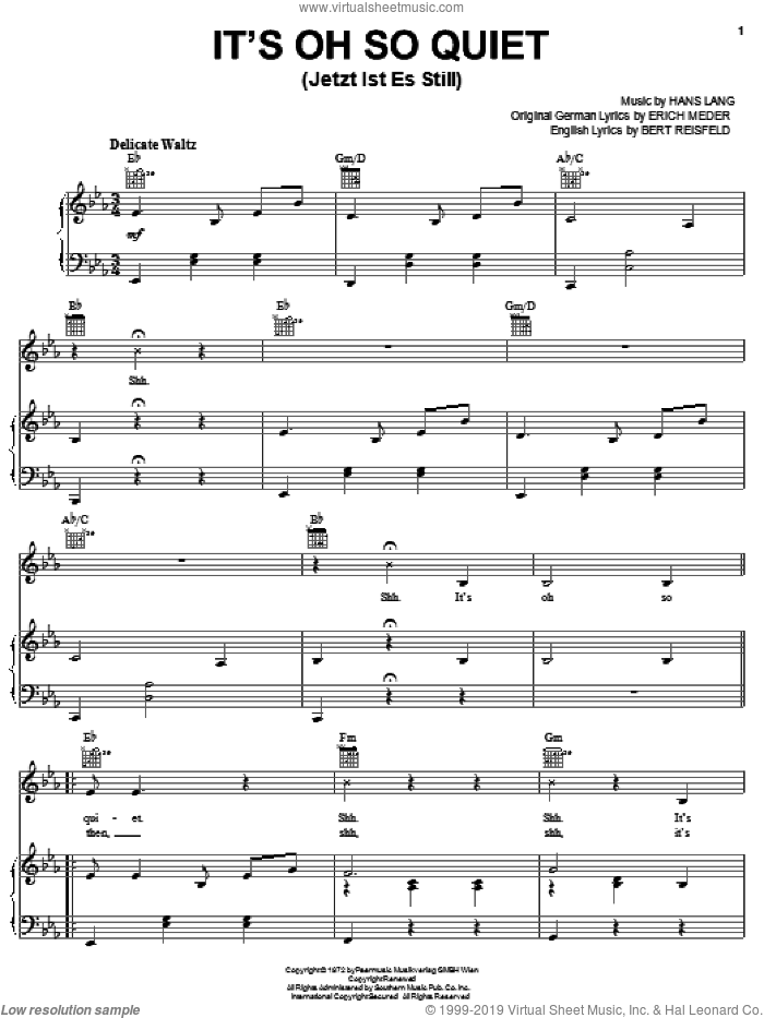 It's Oh So Quiet (Jetzt Ist Es Still) sheet music for voice, piano or guitar by Hans Lang. Score Image Preview.