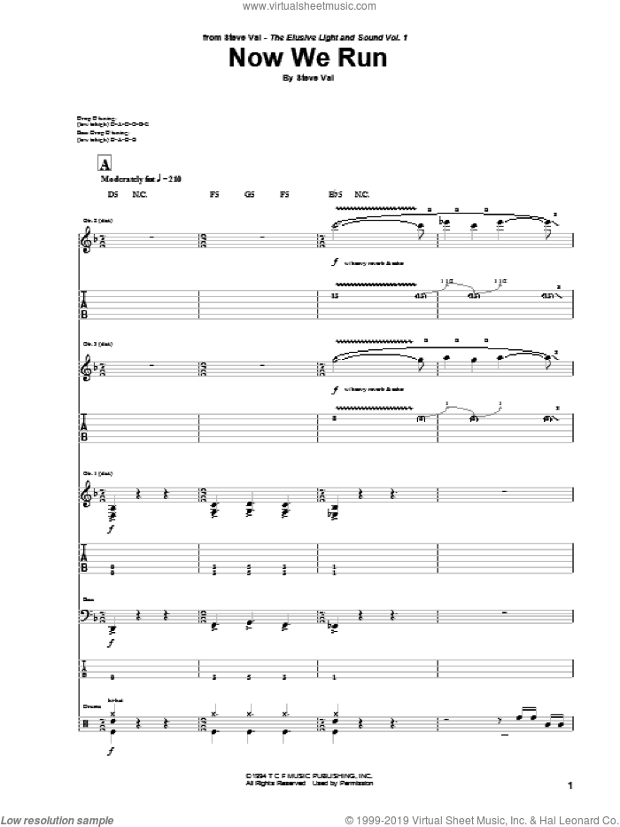 Now We Run sheet music for guitar (tablature) by Steve Vai. Score Image Preview.