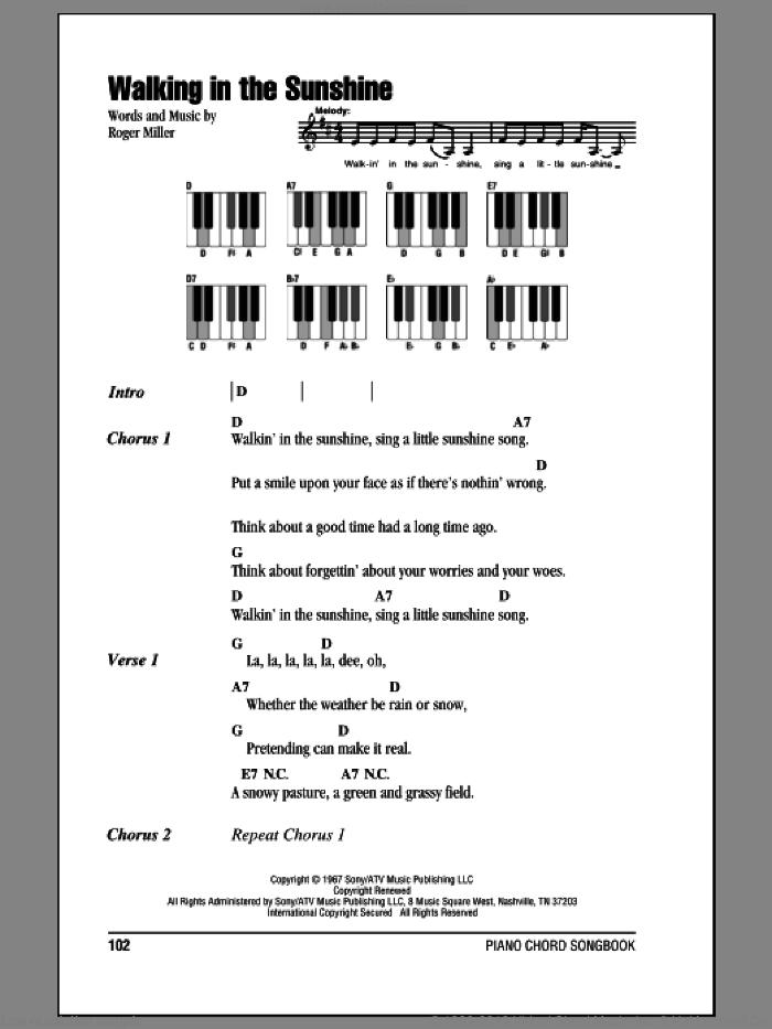Walking In The Sunshine sheet music for piano solo (chords, lyrics, melody) by Roger Miller. Score Image Preview.