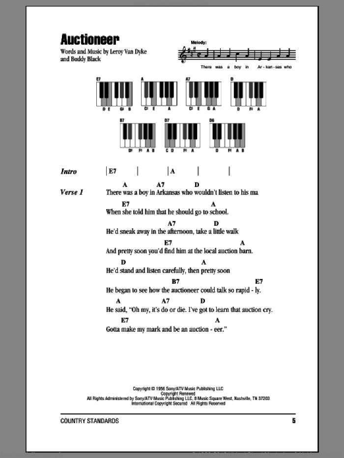 Auctioneer sheet music for piano solo (chords, lyrics, melody) by Leroy Van Dyke and Buddy Black, intermediate piano (chords, lyrics, melody)