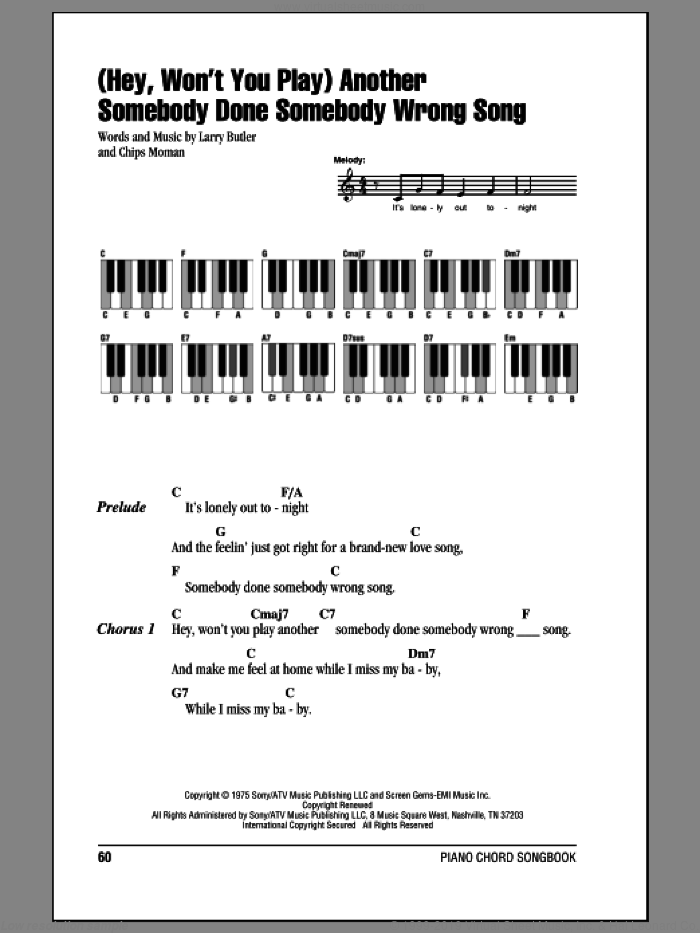 (Hey, Won't You Play) Another Somebody Done Somebody Wrong Song sheet music for piano solo (chords, lyrics, melody) by B.J. Thomas, Chips Moman and Larry Butler, intermediate piano (chords, lyrics, melody)