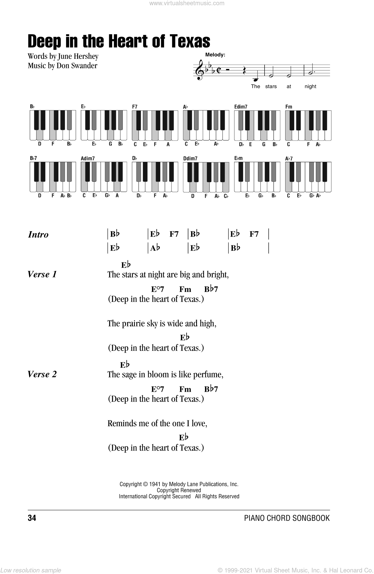 Deep In The Heart Of Texas sheet music for piano solo (chords, lyrics, melody) by June Hershey. Score Image Preview.