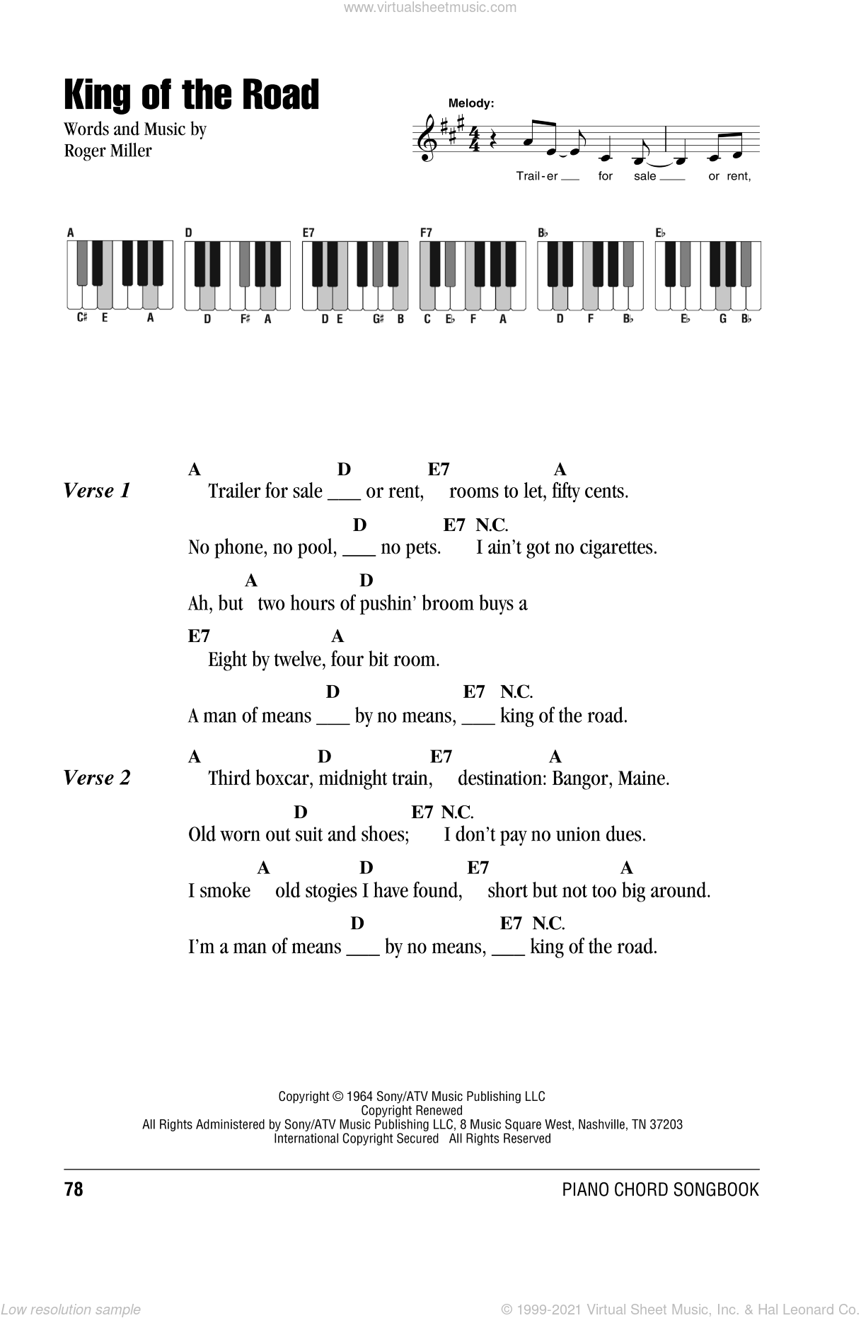 King Of The Road sheet music for piano solo (chords, lyrics, melody) by Roger Miller, intermediate piano (chords, lyrics, melody). Score Image Preview.