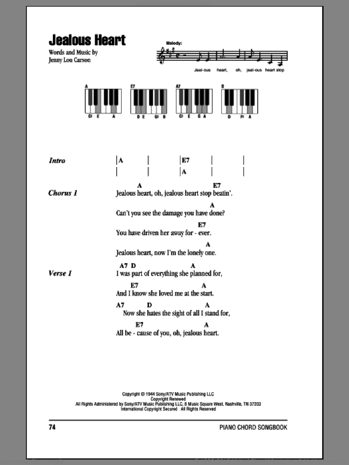 Ritter Jealous Heart Sheet Music For Piano Solo Chords Lyrics