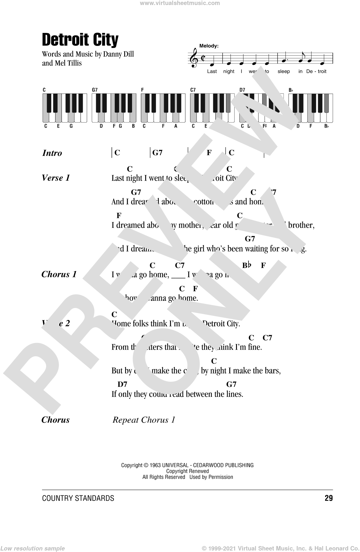 Detroit City sheet music for piano solo (chords, lyrics, melody) by Bobby Bare and Mel Tillis, intermediate piano (chords, lyrics, melody). Score Image Preview.