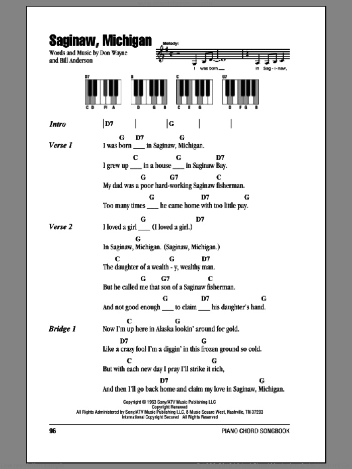 Saginaw, Michigan sheet music for piano solo (chords, lyrics, melody) by Don Wayne, Lefty Frizzell and Bill Anderson. Score Image Preview.