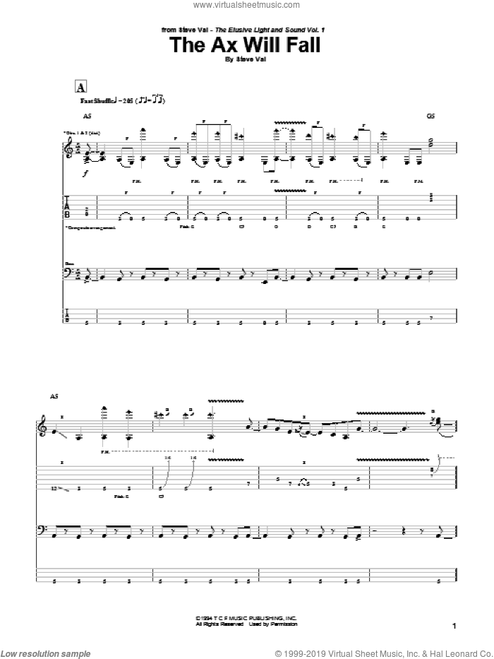 The Ax Will Fall sheet music for guitar (tablature) by Steve Vai. Score Image Preview.