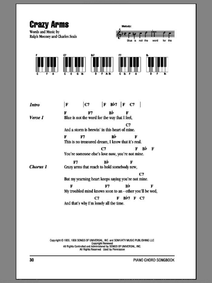 Crazy Arms sheet music for piano solo (chords, lyrics, melody) by Ralph Mooney