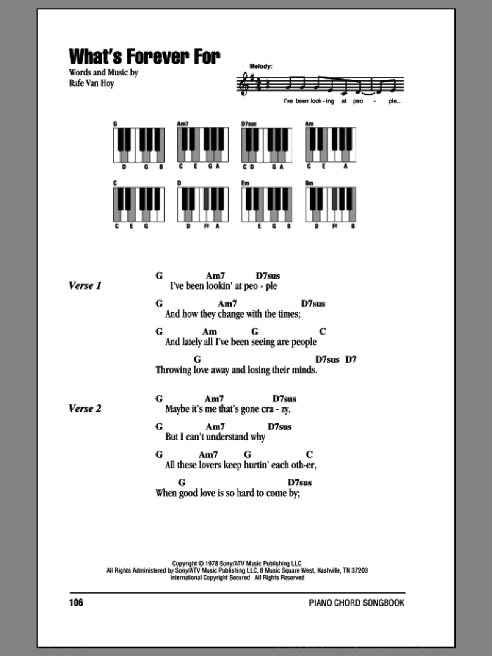 What's Forever For sheet music for piano solo (chords, lyrics, melody) by Rafe VanHoy and Michael Martin Murphey. Score Image Preview.