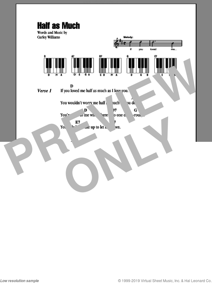 Half As Much sheet music for piano solo (chords, lyrics, melody) by Hank Williams. Score Image Preview.