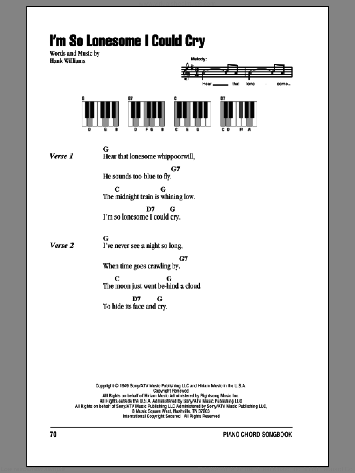 I'm So Lonesome I Could Cry sheet music for piano solo (chords, lyrics, melody) by Hank Williams. Score Image Preview.