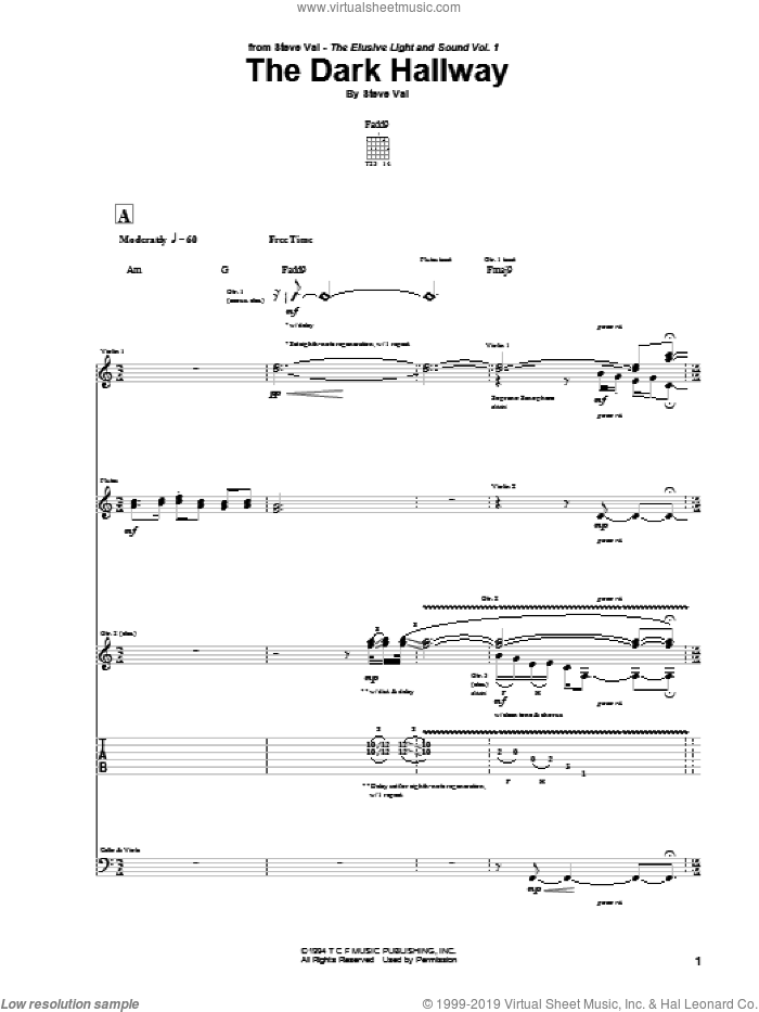 The Dark Hallway sheet music for guitar (tablature) by Steve Vai, intermediate. Score Image Preview.
