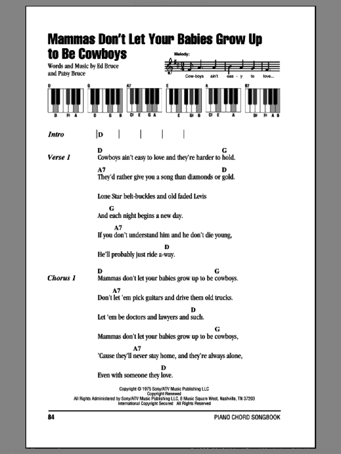 Mammas Don't Let Your Babies Grow Up To Be Cowboys sheet music for piano solo (chords, lyrics, melody) by Patsy Bruce and Willie Nelson. Score Image Preview.