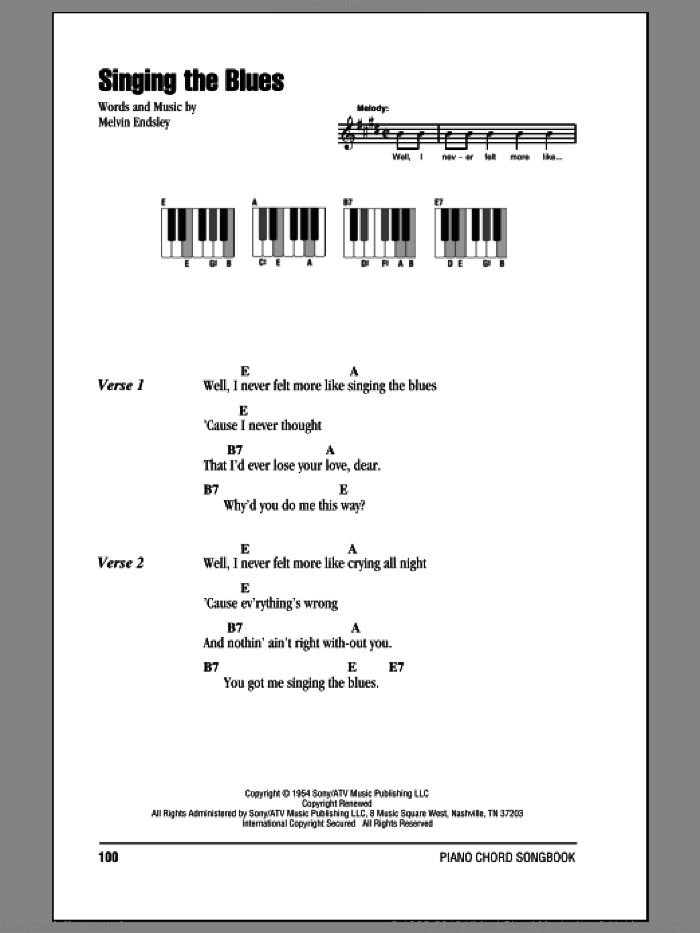 Singing The Blues sheet music for piano solo (chords, lyrics, melody) by Guy Mitchell and Melvin Endsley, intermediate piano (chords, lyrics, melody)