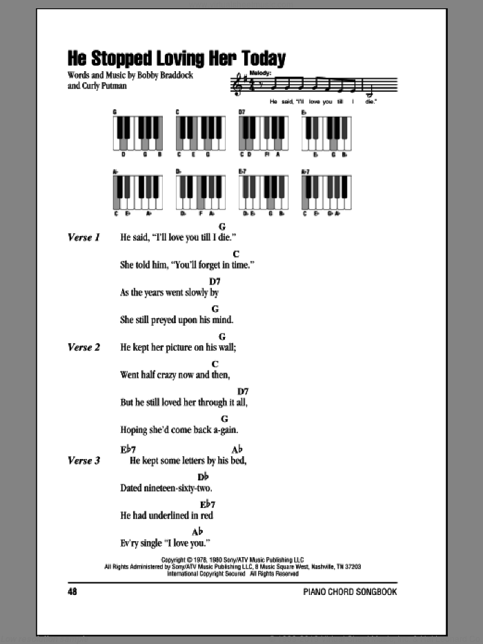 He Stopped Loving Her Today sheet music for piano solo (chords, lyrics, melody) by Curly Putman, George Jones and Bobby Braddock