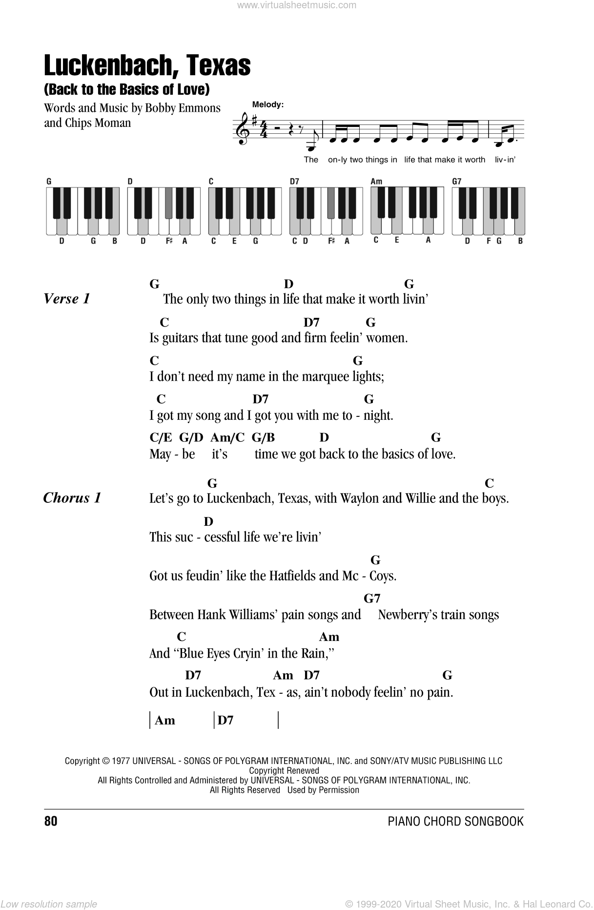 Luckenbach, Texas (Back To The Basics Of Love) sheet music for piano solo (chords, lyrics, melody) by Chips Moman