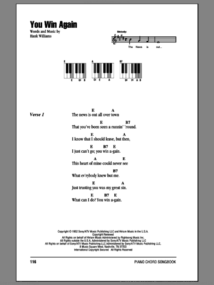 You Win Again sheet music for piano solo (chords, lyrics, melody) by Hank Williams, intermediate piano (chords, lyrics, melody). Score Image Preview.