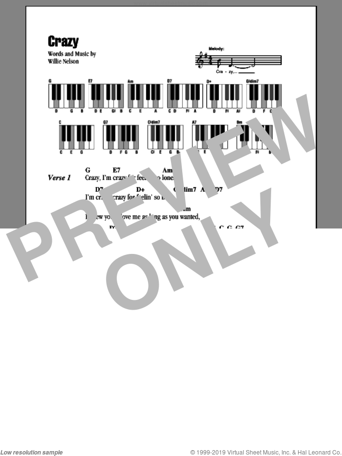 Crazy sheet music for piano solo (chords, lyrics, melody) by Patsy Cline and Willie Nelson, intermediate piano (chords, lyrics, melody)